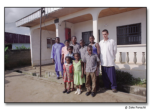 Alex with his Bafia family, Mora, Cameroon, Africa