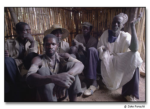 Village men and chief during meeting in mountain school, above Mora, Cameroon, Africa