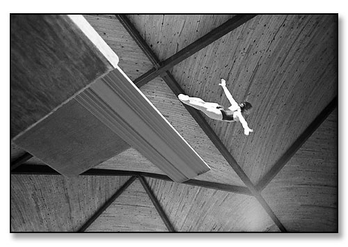 Noel Keefer, collegiate diver. <br>The Smith Swim Center, Brown University, Providence, Rhode Island. December 1977.