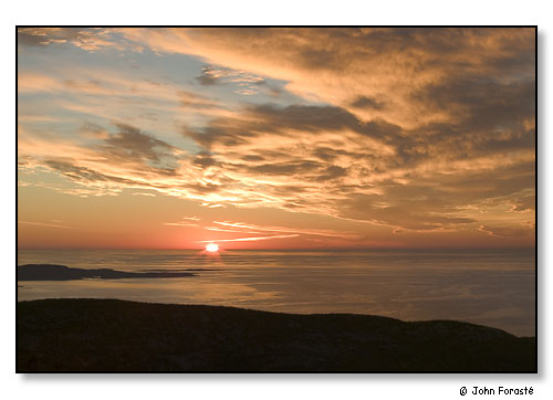 Sunrise from atop Cadillac Mountain. Acadia National Park, Maine. October 2004.
