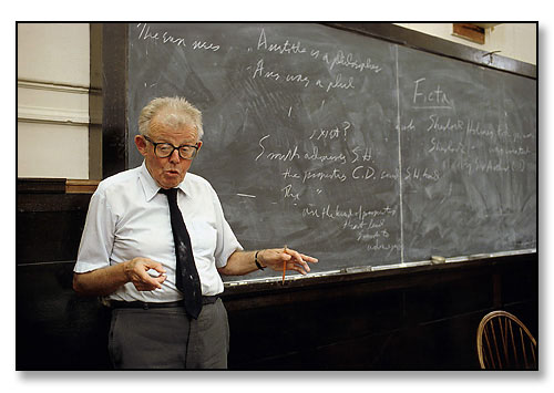 Rod Chisholm, Professor of Philosophy, teaching class. <br>Brown University, Providence, Rhode Island. October 1988.