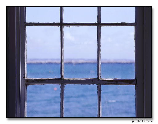 Window looking out to Cape Cod Bay. Provincetown (Cape Cod), Massachusetts. May 2001.