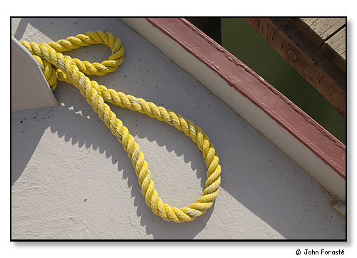 Detail of line on the deck of a commercial fishing trawler. <br>Photograph made for America 24/7 project. <br>Port of Galilee, Narragansett, Rhode Island. May 2003.