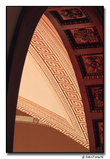 Detail of library ceiling. <br>Olin Memorial Library, Wesleyan University, Middletown, Connecticut. October 2001.