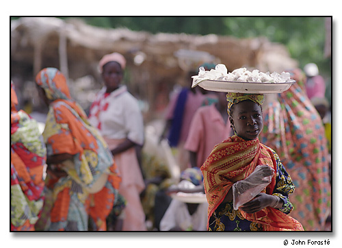Girl on market day. <br>Mora, Cameroon, (central west) Africa. August 2002.