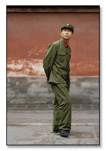Young Red Guard soldier outside the Forbidden City. Beijing, China. July 1979.